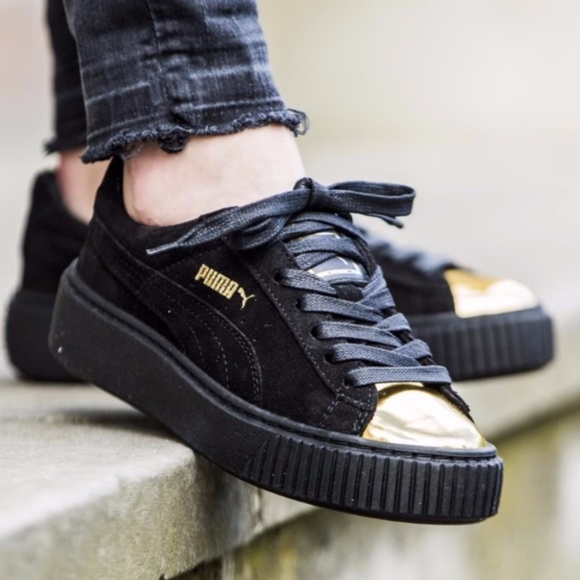 Puma Shoes   Gold Toe Suede Platform